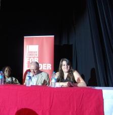 The panel wait to speak